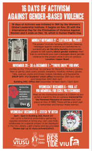 16 Days of Activism Schedule