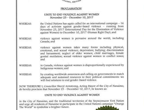City of Nanaimo Proclamation: 16 Days of Activism Against Gender-Based Violence