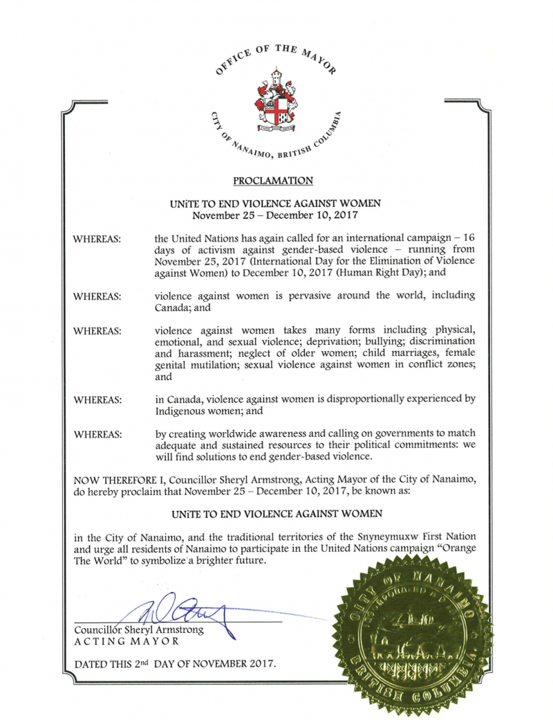 City of Nanaimo Proclamation - 2017 16 Days of Activism