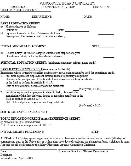 Collective Agreement Appendix C Initial Salary Placement Form